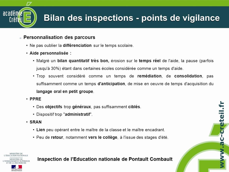 Bilan des inspections - points de vigilance