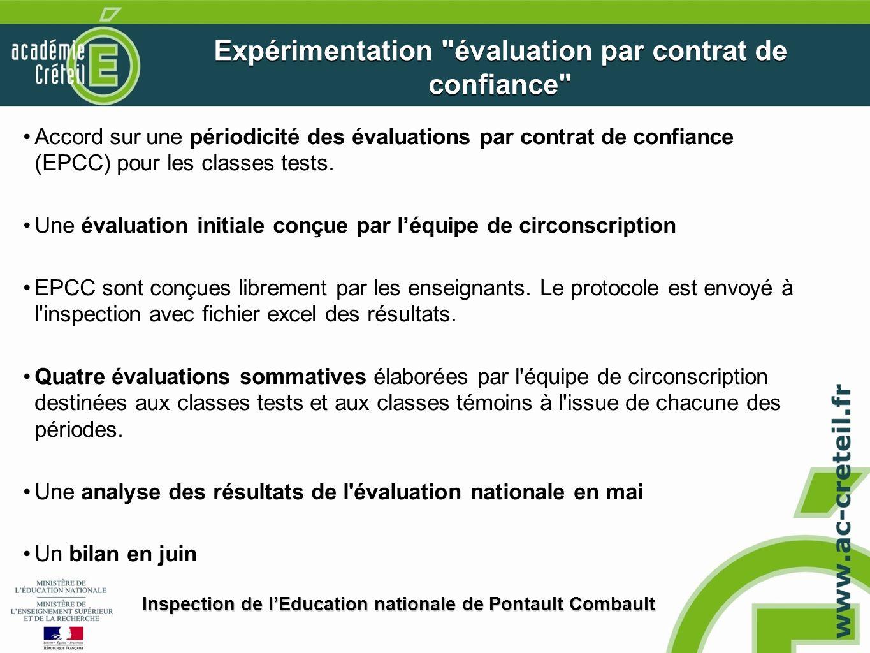 Expérimentation évaluation par contrat de confiance