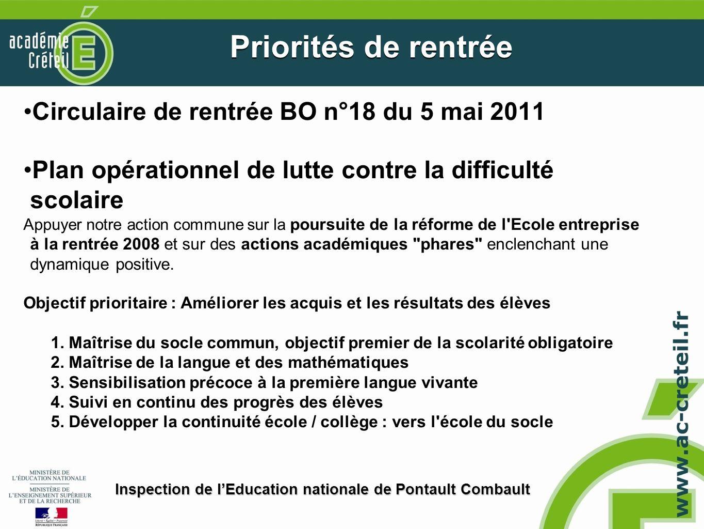Priorités de rentrée Circulaire de rentrée BO n°18 du 5 mai 2011