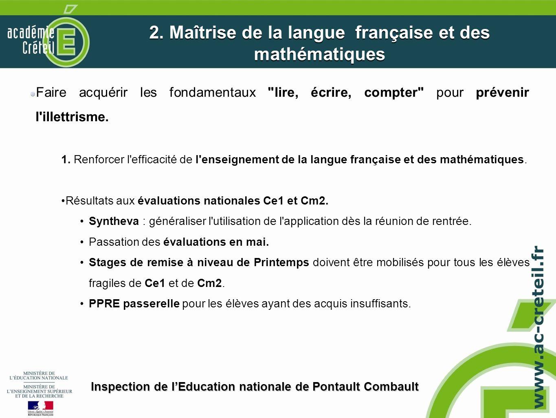 2. Maîtrise de la langue française et des mathématiques