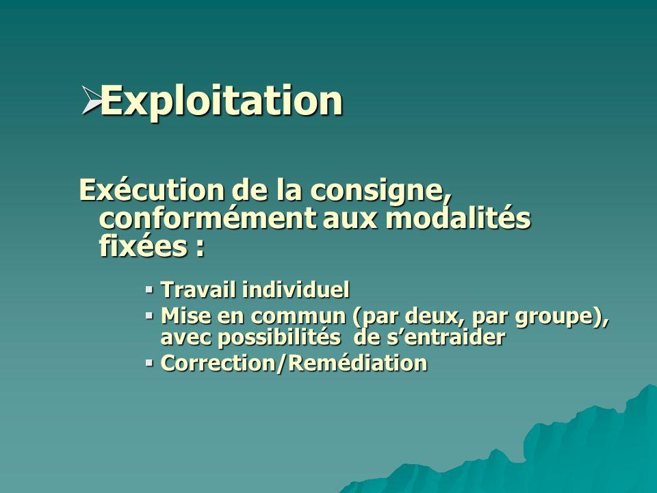 Exploitation Exécution de la consigne, conformément aux modalités fixées : Travail individuel.