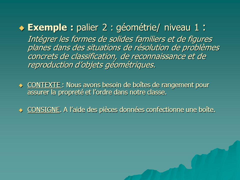 Exemple : palier 2 : géométrie/ niveau 1 :