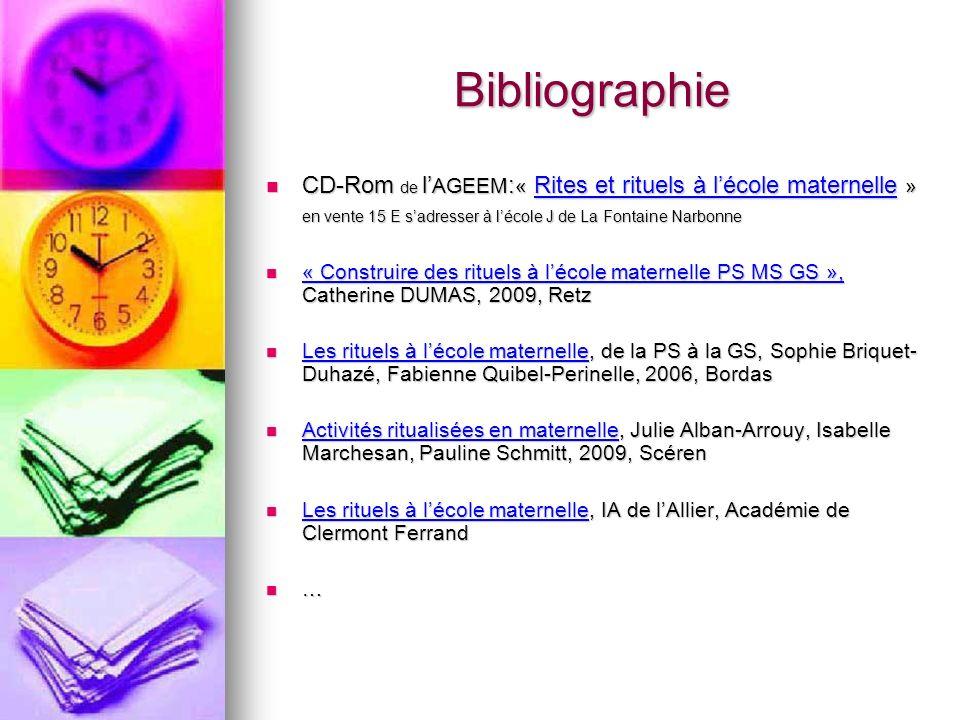 BibliographieCD-Rom de l'AGEEM:« Rites et rituels à l'école maternelle » en vente 15 E s'adresser à l'école J de La Fontaine Narbonne.