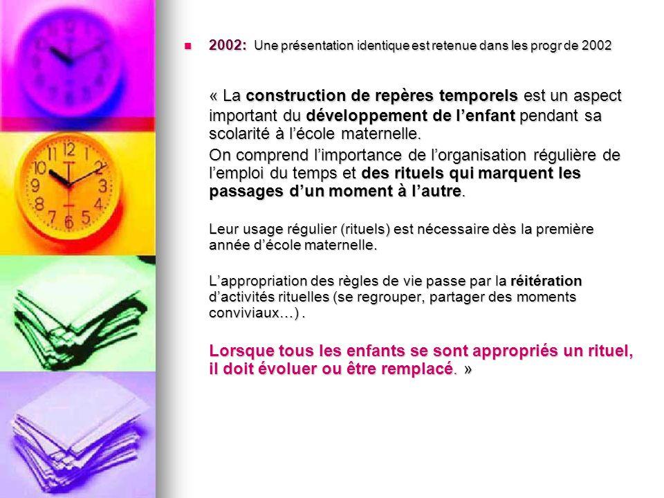 2002: Une présentation identique est retenue dans les progr de 2002