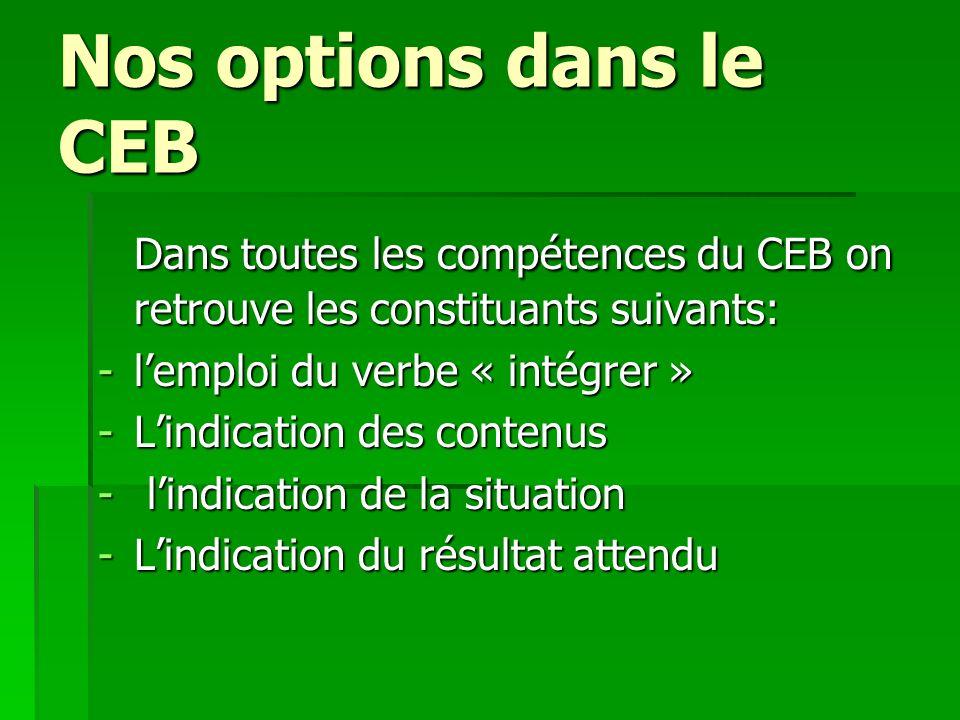 Nos options dans le CEB Dans toutes les compétences du CEB on retrouve les constituants suivants: l'emploi du verbe « intégrer »