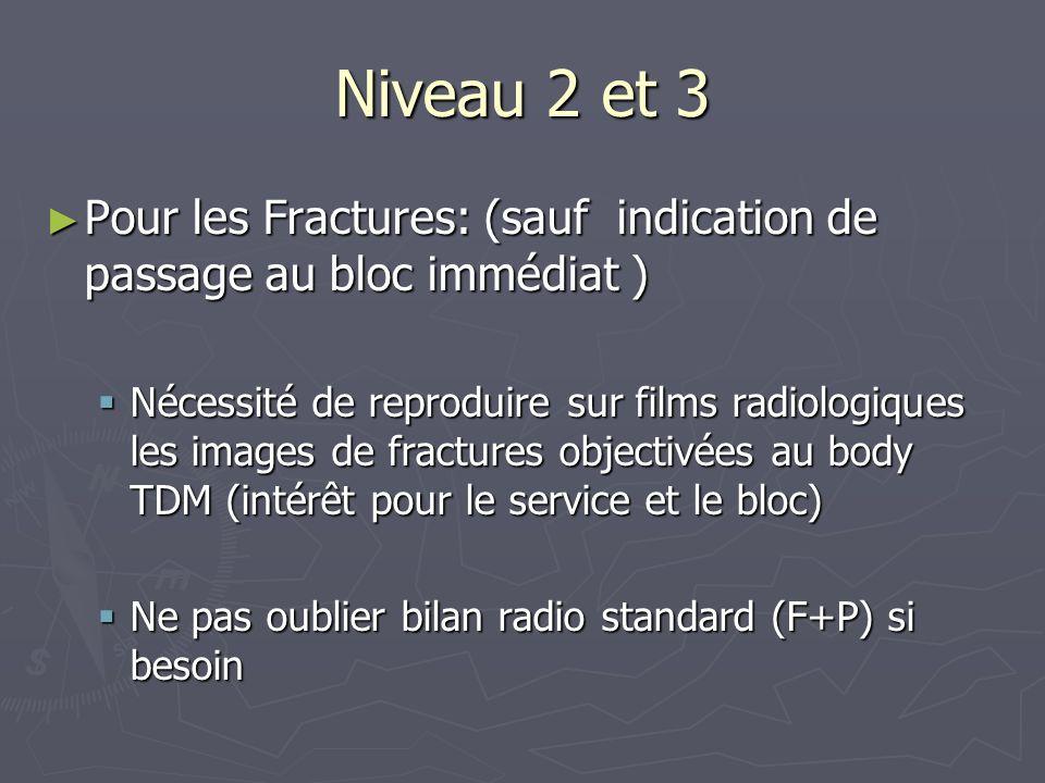 Niveau 2 et 3 Pour les Fractures: (sauf indication de passage au bloc immédiat )