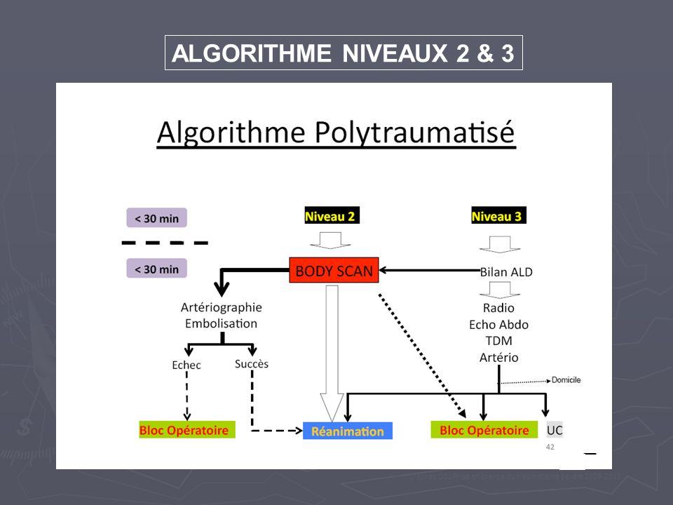 ALGORITHME NIVEAUX 2 & 3 D après DIU Prise en charge du traumatisme sévère 2009-2010