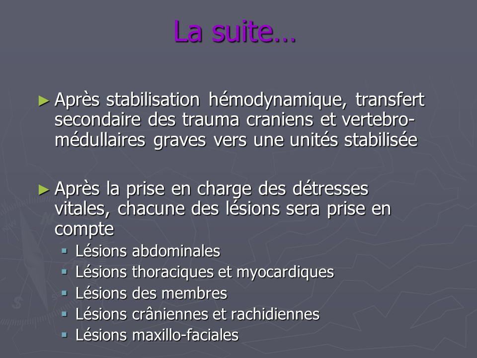 La suite… Après stabilisation hémodynamique, transfert secondaire des trauma craniens et vertebro-médullaires graves vers une unités stabilisée.
