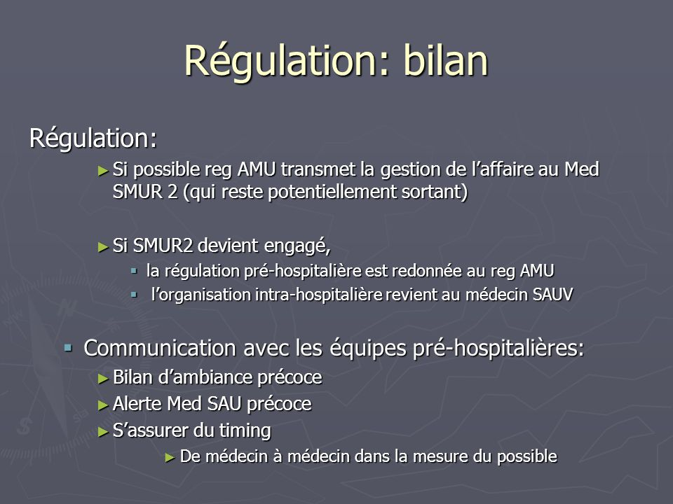 Régulation: bilan Régulation: