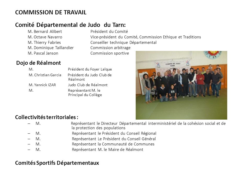 COMMISSION DE TRAVAIL Comité Départemental de Judo du Tarn: