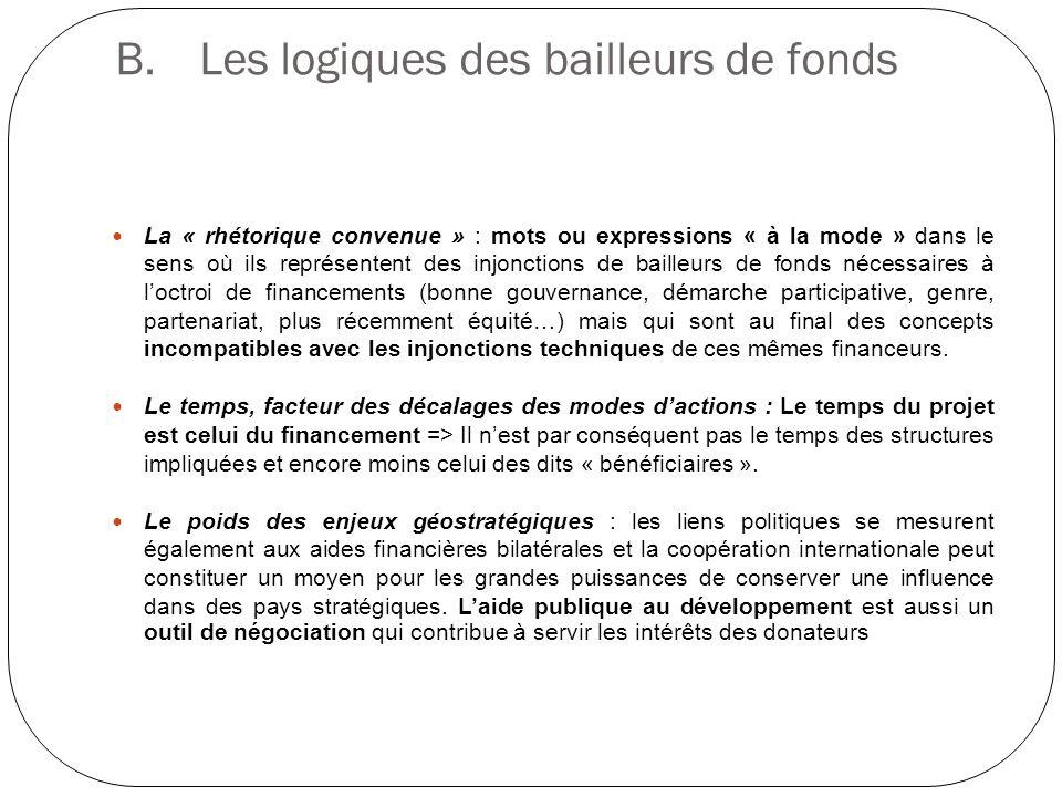 B. Les logiques des bailleurs de fonds