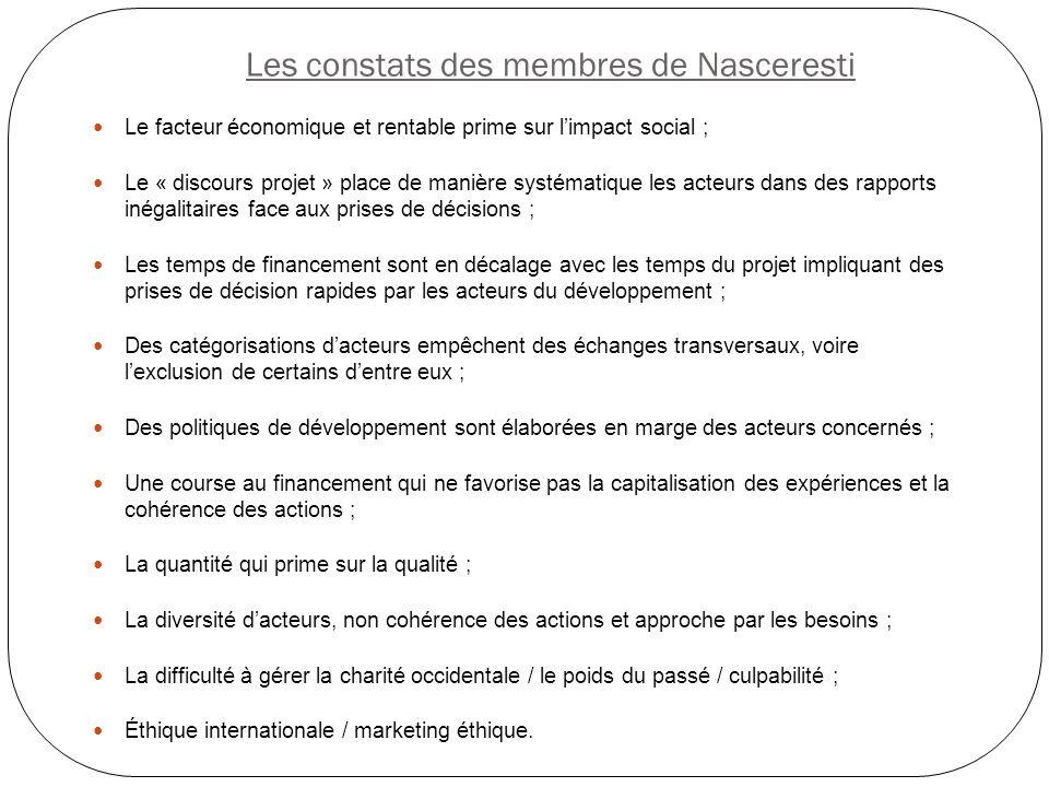 Les constats des membres de Nasceresti