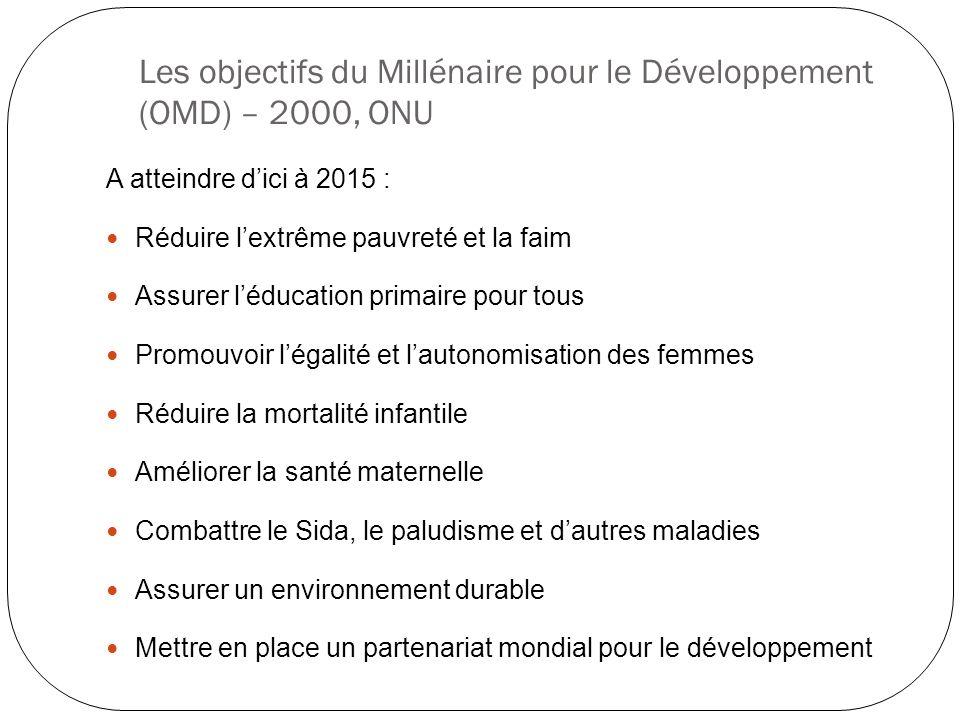 Les objectifs du Millénaire pour le Développement (OMD) – 2000, ONU