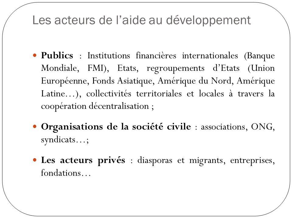 Les acteurs de l'aide au développement