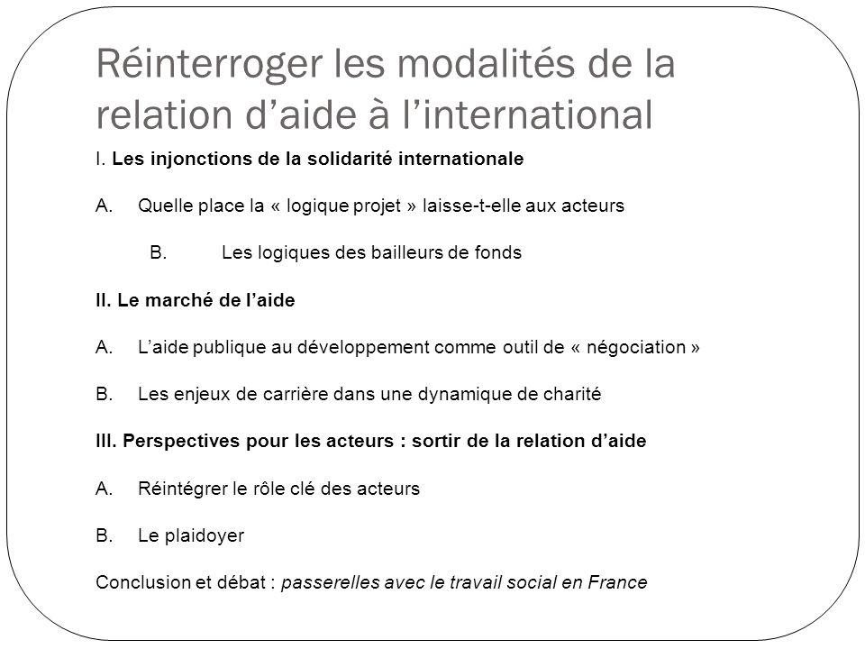 Réinterroger les modalités de la relation d'aide à l'international