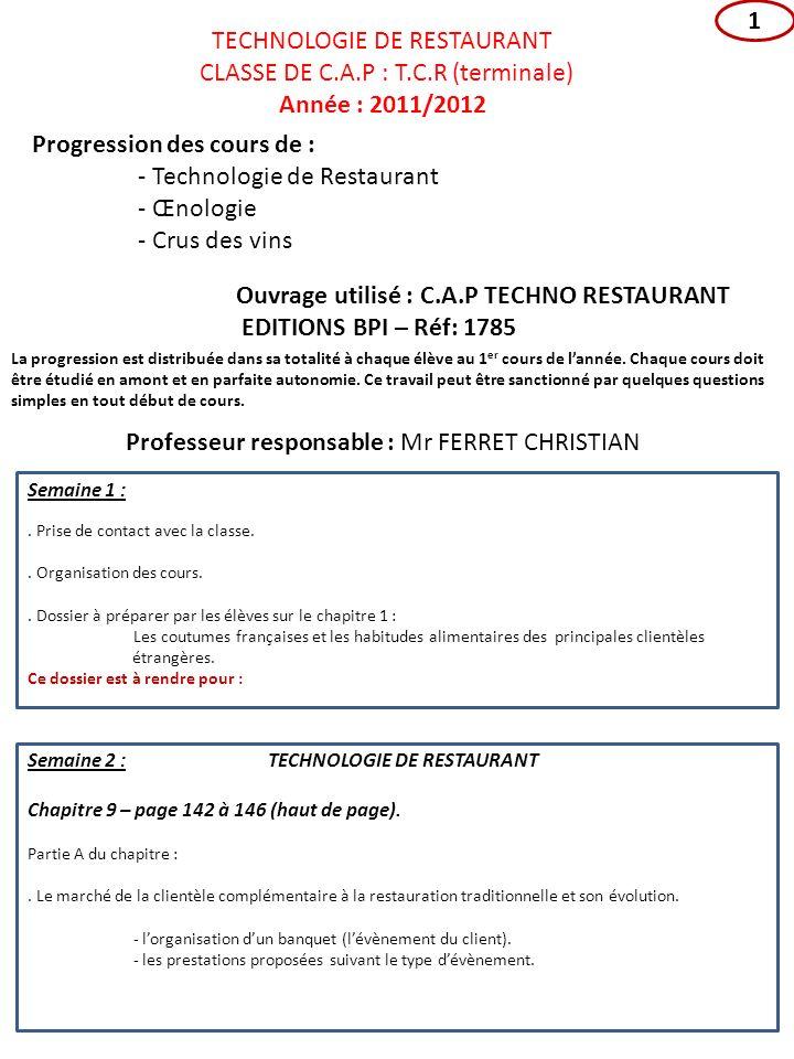 TECHNOLOGIE DE RESTAURANT CLASSE DE C.A.P : T.C.R (terminale)