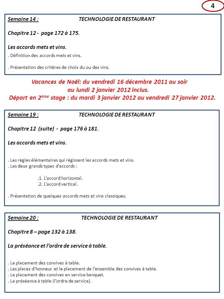 4 Vacances de Noël: du vendredi 16 décembre 2011 au soir