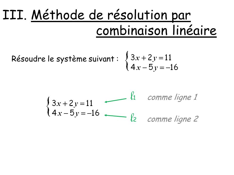 l1 l2 III. Méthode de résolution par combinaison linéaire