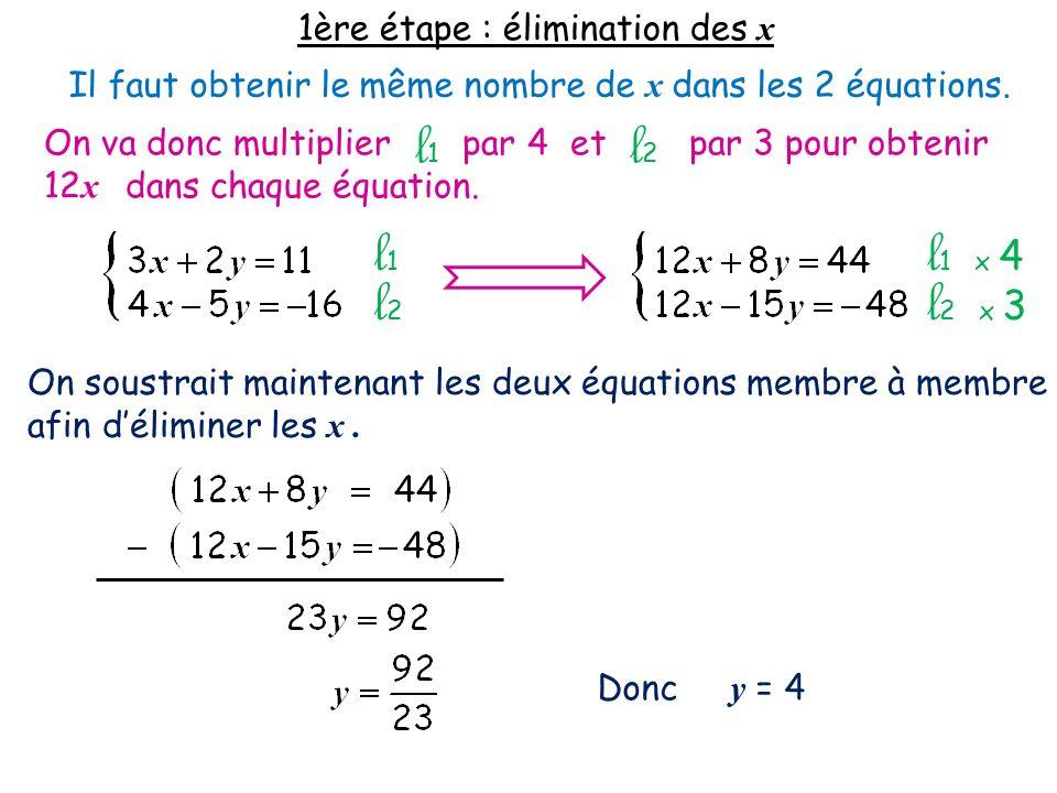 l1 l2 l1 l1 x 4 l2 l2 x 3 1ère étape : élimination des x