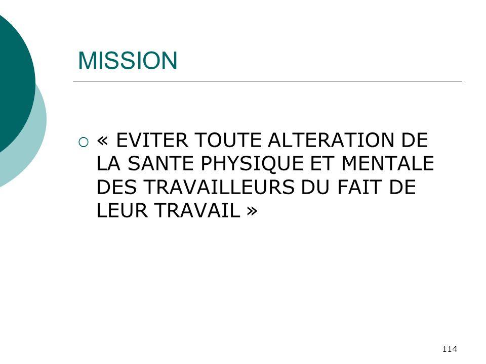 MISSION« EVITER TOUTE ALTERATION DE LA SANTE PHYSIQUE ET MENTALE DES TRAVAILLEURS DU FAIT DE LEUR TRAVAIL »