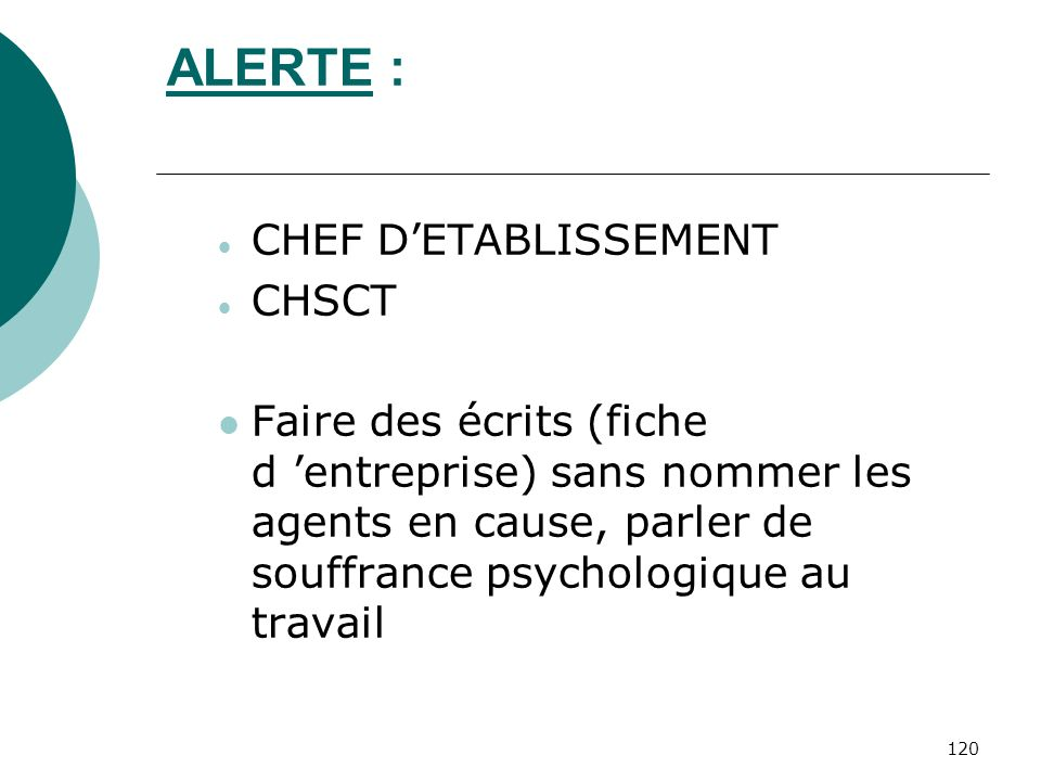 ALERTE : CHEF D'ETABLISSEMENT CHSCT