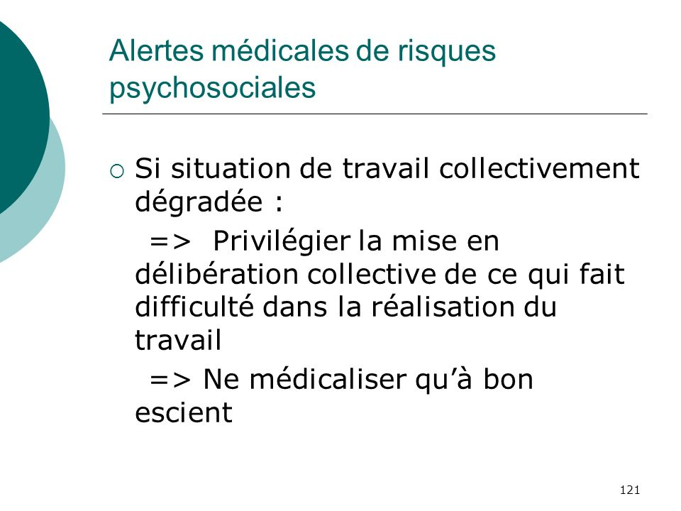 Alertes médicales de risques psychosociales