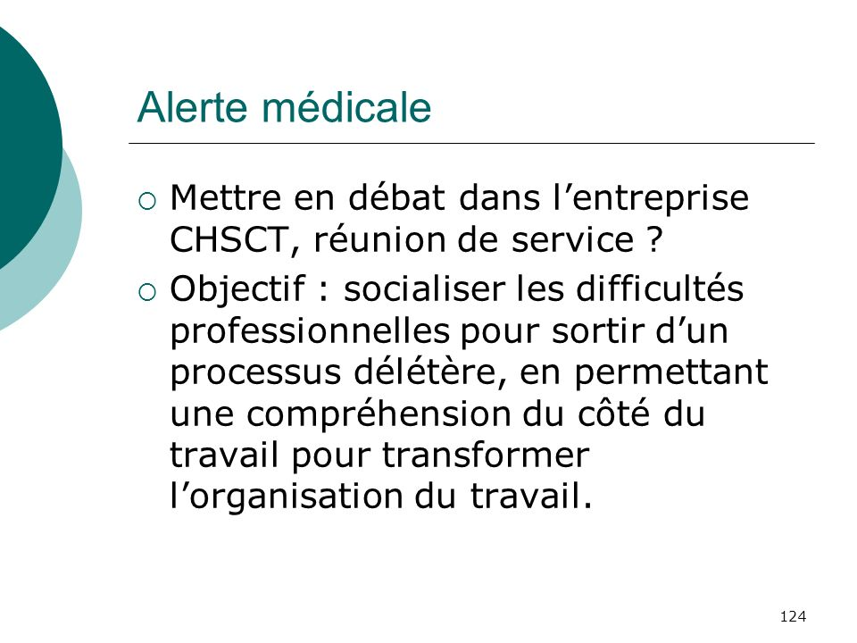 Alerte médicale Mettre en débat dans l'entreprise CHSCT, réunion de service