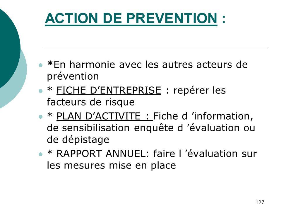 ACTION DE PREVENTION : *En harmonie avec les autres acteurs de prévention. * FICHE D'ENTREPRISE : repérer les facteurs de risque.