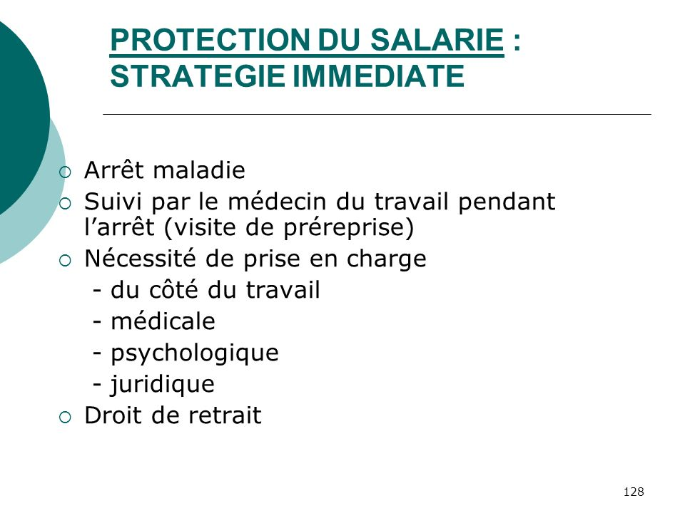 PROTECTION DU SALARIE : STRATEGIE IMMEDIATE
