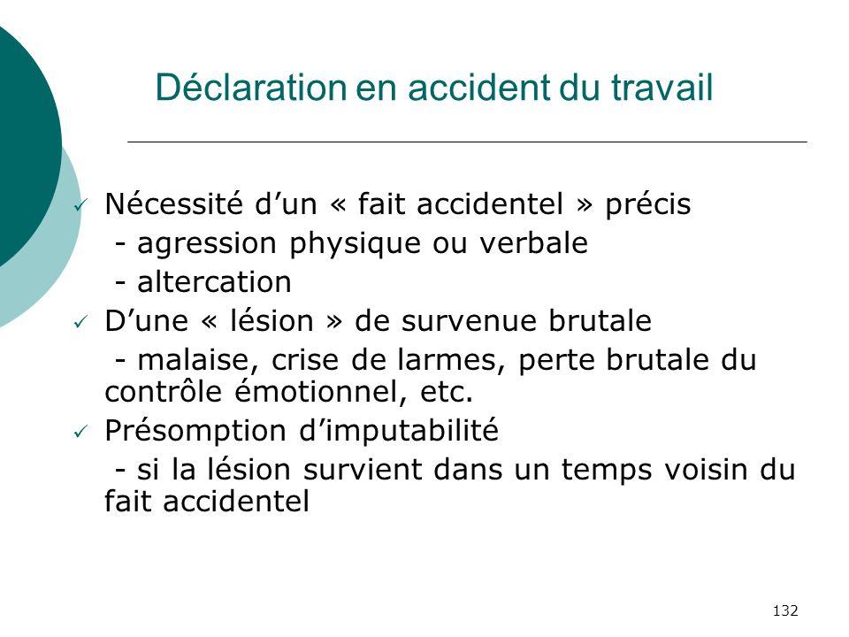 Déclaration en accident du travail