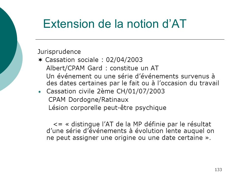 Extension de la notion d'AT