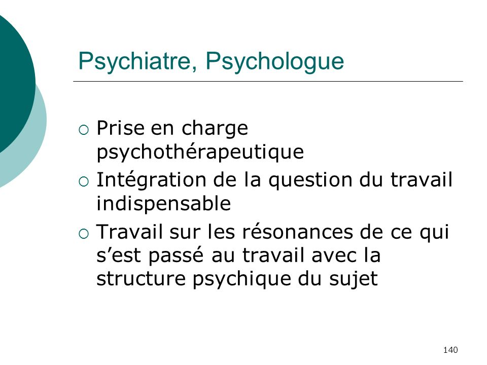 Psychiatre, Psychologue