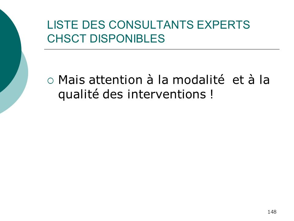 LISTE DES CONSULTANTS EXPERTS CHSCT DISPONIBLES