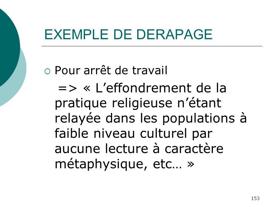EXEMPLE DE DERAPAGEPour arrêt de travail.