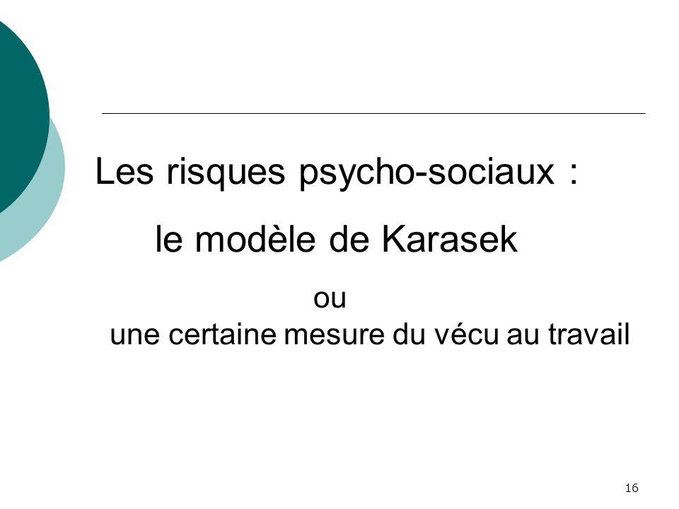 Les risques psycho-sociaux :