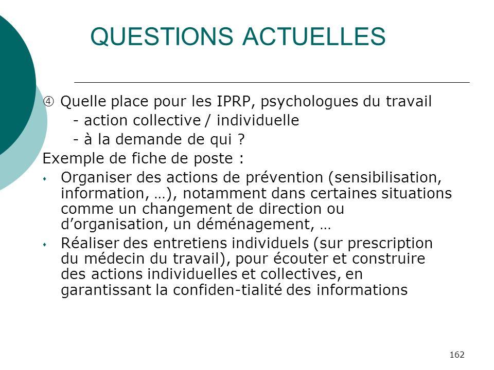 QUESTIONS ACTUELLES  Quelle place pour les IPRP, psychologues du travail. - action collective / individuelle.