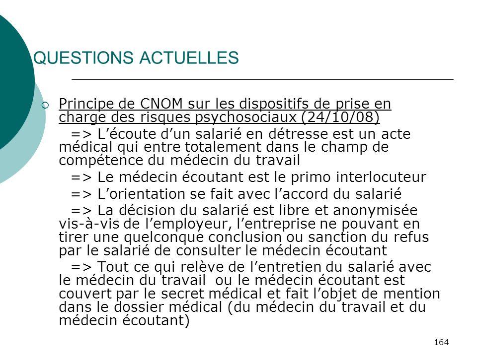 QUESTIONS ACTUELLES Principe de CNOM sur les dispositifs de prise en charge des risques psychosociaux (24/10/08)