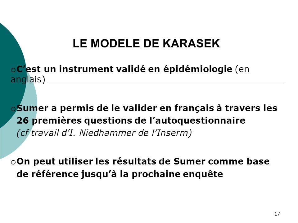 LE MODELE DE KARASEK C'est un instrument validé en épidémiologie (en anglais) Sumer a permis de le valider en français à travers les.