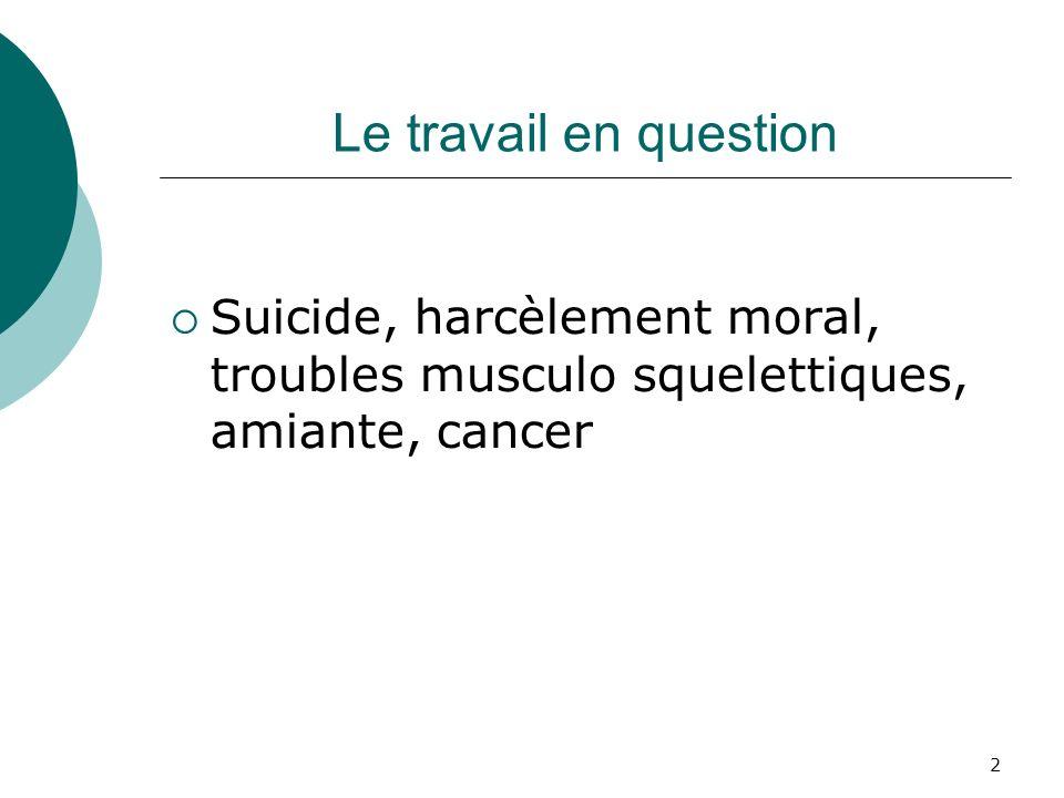 Le travail en question Suicide, harcèlement moral, troubles musculo squelettiques, amiante, cancer
