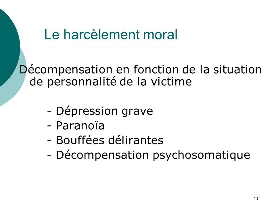 Le harcèlement moral Décompensation en fonction de la situation de personnalité de la victime. - Dépression grave.
