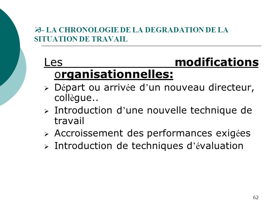 3- LA CHRONOLOGIE DE LA DEGRADATION DE LA SITUATION DE TRAVAIL