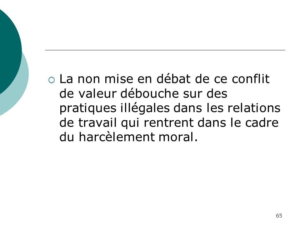 La non mise en débat de ce conflit de valeur débouche sur des pratiques illégales dans les relations de travail qui rentrent dans le cadre du harcèlement moral.