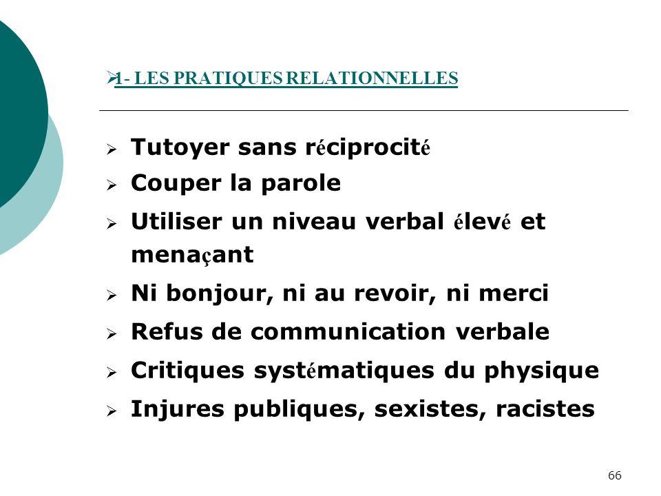 1- LES PRATIQUES RELATIONNELLES