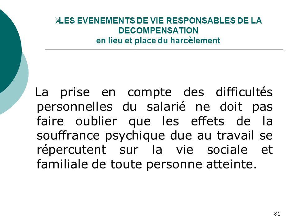 LES EVENEMENTS DE VIE RESPONSABLES DE LA DECOMPENSATION en lieu et place du harcèlement