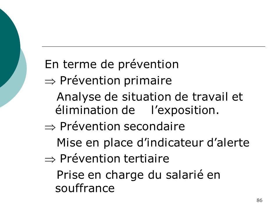 En terme de prévention Prévention primaire. Analyse de situation de travail et élimination de l'exposition.