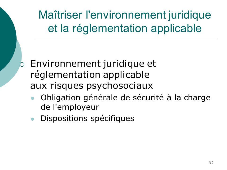 Maîtriser l environnement juridique et la réglementation applicable