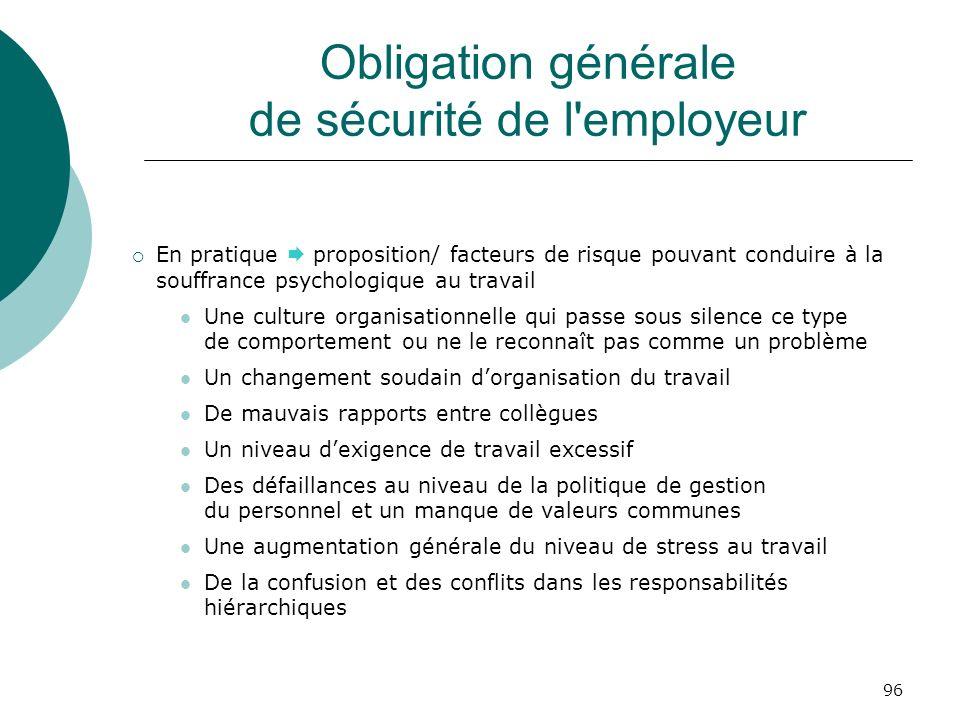 Obligation générale de sécurité de l employeur