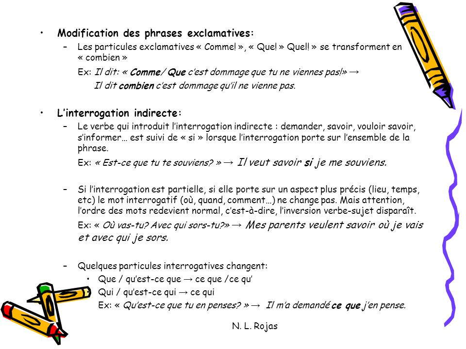 Modification des phrases exclamatives: