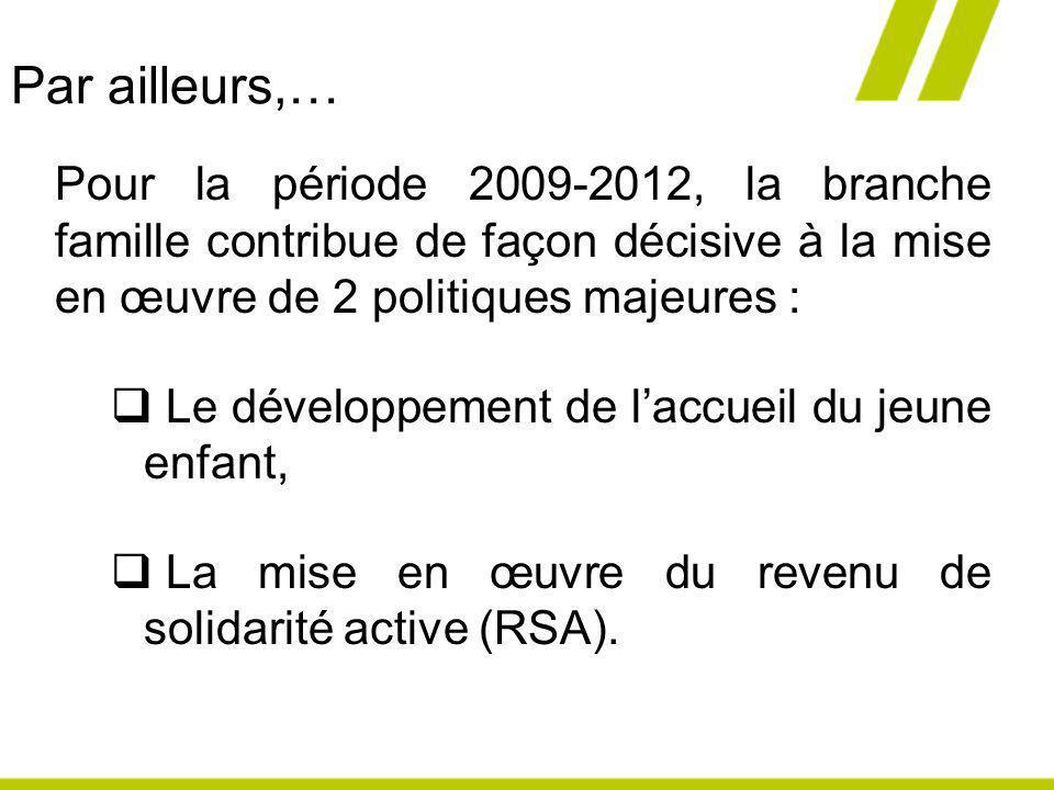 Par ailleurs,… Pour la période 2009-2012, la branche famille contribue de façon décisive à la mise en œuvre de 2 politiques majeures :