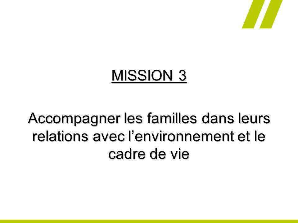 MISSION 3 Accompagner les familles dans leurs relations avec l'environnement et le cadre de vie